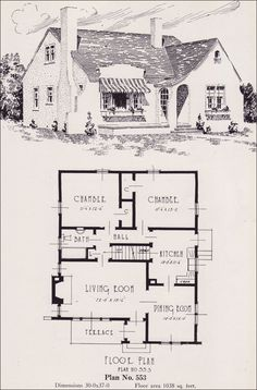 1926 Portland Home Plan by Universal Plan Service - No. 553  Plan 553 is good example of an eclectic style, which were very common during the 1920s. The stucco sidewalls and arched entry could be interpreted as Mediterranean, especially with the unusual parapeted front wall. Or just as easily, the shape of the facing entry with its catslide roof and relatively steep roof pitch could be called English Revival. These are decorative details; the massing of the plan and layout is modern.