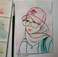 Hijab Cartoon Drawing Sketches Islamic Art My Drawings Fashion