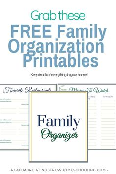 Its time to update your home management binder with these family organization printables. Keep track of fav restaurants, fav. movies & more. Free Printable Worksheets, Printables, Paper Binder, Binder Dividers, Home Binder, Household Binder, Organization Skills, Meal Planning Printable, Home Management Binder