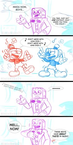 A small comic page of Cuphead and Mugman, featuring King Dice! When me and my sister went to the Die House and heard the song, we couldn't help but to dance along to it! xD So I had to draw this comic...