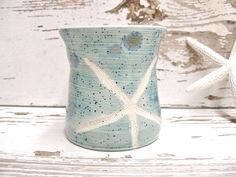 Starfish toothbrush pen pencil holder vase teal by SeamariesBounty