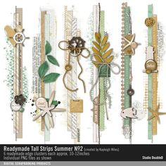 Readymade Tall Strips: Summer No. 02 clustered border strips in a vintage style… Scrapbook Borders, Scrapbook Templates, Scrapbook Embellishments, Scrapbooking Ideas, Scrapbook Cards, Scrapbook Layouts, Digital Scrapbooking, Vacation Scrapbook, Paper Scraps