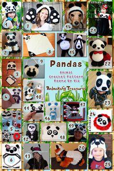 Pandas - Animal Crochet Pattern Round Up via @beckastreasures