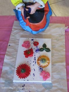 flower painting w/ spray paint