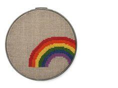 Rainbow modern cross stitch pattern by wallwork on Etsy, $4.50