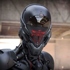 MTL Writer, daydreamer and resident cyberpunk. The brain that collates this visualgasm also assembles words into post-cyberpunk dystopia: my. Futuristic Helmet, Futuristic Armour, Helmet Armor, Suit Of Armor, Body Armor, Robot Concept Art, Armor Concept, Robot Design, Helmet Design