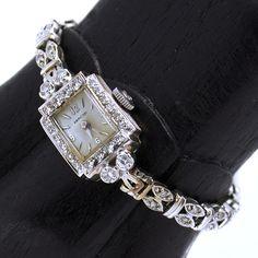 Vintage 14K Hamilton .80TCW Diamond Wrist Watch from asemetals on Ruby Lane