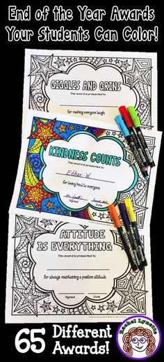 Give your students awards they can color themselves! 65 different awards, plus a template you can edit to create your own. Also available with a simpler frame with bigger spaces to color. End Of Year Activities, Classroom Activities, Classroom Organization, Classroom Ideas, Teaching Activities, Teaching Tools, End Of School Year, Beginning Of School, Middle School