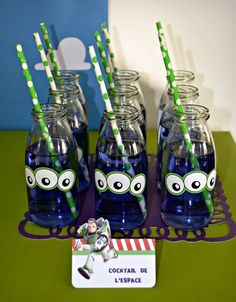 Fun drinks at a Buzz lightyear Birthday Party!  See more party ideas at CatchMyParty.com!