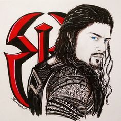 Wwe Superstar Roman Reigns, Wwe Roman Reigns, Roman Reigns Drawing, Roman Regins, Drawing Sketches, Drawings, Thing 1, Seth Rollins, Wwe Superstars