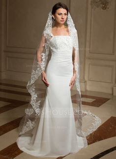 Wedding Veils - $48.99 - One-tier Cathedral Bridal Veils With Lace Applique Edge (006024462) http://jjshouse.com/One-Tier-Cathedral-Bridal-Veils-With-Lace-Applique-Edge-006024462-g24462