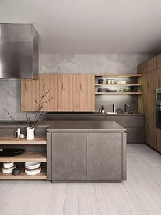 Dark, light, oak, maple, cherry cabinetry and wood veneer modern kitchen cabinets. CHECK THE PICTURE for Lots of Wood Kitchen Cabinets. Grey Kitchen Interior, Industrial Interior Design, Luxury Kitchen Design, Grey Kitchens, Home Decor Kitchen, Home Kitchens, Kitchen Furniture, Modern Industrial, Kitchen Ideas