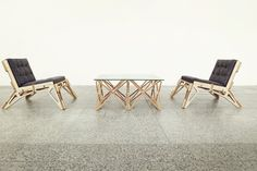 Chair 23D & Space Frame Table, structure design as skelton of pieces that fit on each other by Gustav Düsing