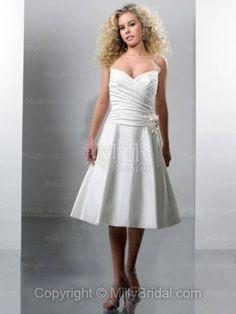 A-line Spaghetti Straps Taffeta Hand Made Flower White Tea-length Wedding Dress