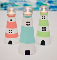 These delightful Tealight Lighthouses will make great decorations for a beach themed summer party. If you are vacationing along the east coast you can take
