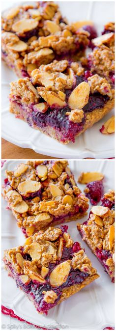 These healthy mixed berry streusel bars are made with wholesome, healthy ingredients like oats, almond butter, and pure maple syrup! Click through for recipe.