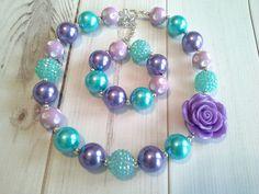 childrens girls bubblegum chunky bead necklace set lot turquoise purple cake  #Unbranded