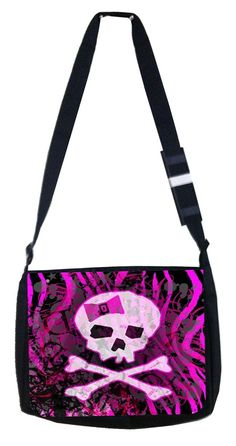Pink and black skull and crossbones Rosie Parker Inc. TM Medium Sized Messenger Bag 11.75' x 15.5' *** Find out more about the great product at the image link. (This is an Amazon Affiliate link and I receive a commission for the sales)