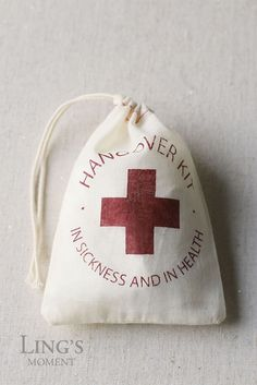"""Tips and ideas for uses : contains a bottle of water, tums, band-aid, life savers ,breath mints ,paper barf ,gums or any thoughtful favours with this funny, cute,awesome,party-friendly """"red cross"""" / first aid drawstring bags,which is an easy DIY project. 