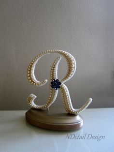 Wedding Cake Topper: Monogram Custom Vintage by NDetailDesign Wedding Wows, Great Gatsby Wedding, Custom Wedding Cake Toppers, Wedding Cakes, Letter D Tattoo, Flower Phone Wallpaper, Vintage Pearls, Here Comes The Bride, Monogram Letters