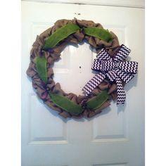 Everyday Burlap Wreath ($65) via Polyvore featuring home, home decor, fall burlap wreaths, outdoor autumn wreaths, burlap wreath, outdoor home decor and outside door wreaths