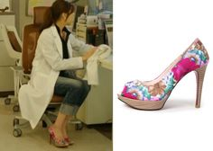 "Kang So Ra in ""Doctor Stranger"" Episode 13.  Sovo Floral Print Heels #Kdrama #DoctorStranger #KangSoRa #강소라"