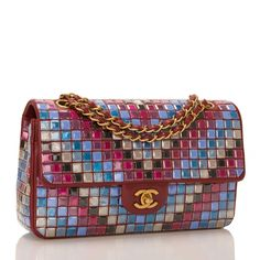 Chanel Runway Red Multicolor Lambskin Medium Flap Bag With Mosaic Embroideries  | From a collection of rare vintage shoulder bags at 1stdibs.com