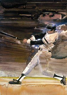 Walt Spitzmiller, Reggie Jackson, NY Yankees illustration. Damn Yankees, New York Yankees, Mr October, Sports Painting, Baseball Photography, Reggie Jackson, Diamonds In The Sky, Evil Empire, Baseball Art