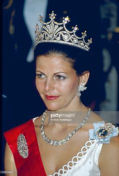 Stockholm, 16 05 1984, Silvia, Queen of Sweden, the wife of King Carl XVI Gustav of Sweden. Ne Silvia Renate Sommerlath 23 December 1943.   (Photo by Francis Apesteguy/Getty Images)