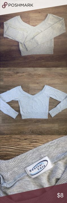 Grey Long-sleeve crop top Shirt is a cotton-spandex blend. In great condition. weathervane Tops Crop Tops