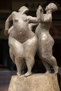 Cast bronze. Nudes, Female #sculpture by #sculptor Joanna Mallin-Davies titled: 'Graces II (Lovely Fat Happy Nude Women Dancers Sculptures /statues)' #art