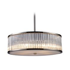 Elk Lighting Modern Drum Pendant Light with Clear Glass in Polished Nickel Finish | 10129/5 | Destination Lighting
