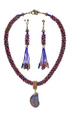 Jewelry Design - Single-Strand Necklace and Earring Set with Pyrite Focal, Seed Beads and Kumihimo Imitation Silk Cord - Fire Mountain Gems and Beads