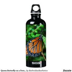 Queen Butterfly on a Fern on a Black SIGG Traveler 0.6L Water Bottle