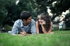 engagement photo idea... lying in the grass (on pavement, ground, whatever). Jeremy & Kristin