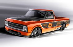 67 Chevy c10 1500 protouring truck Orange Rush rendering grey 67 72 Chevy Truck, Classic Chevy Trucks, Chevy C10, Chevy Pickups, C10 Trucks, Hot Rod Trucks, Pickup Trucks, Rat Fink, American Muscle Cars