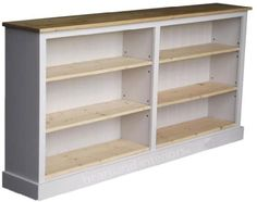 100% Solid Wood Bookcase, 3ft Tall x 6ft Wide White Painted & Waxed Adjustable Display Storage Shelving Unit. No Flat Packs, No Assembly (BK8-CP): Amazon.co.uk: Kitchen & Home Wood Shelving Units, Storage Shelving, Wood Shelves, Open Shelving, Long Low Bookcase, Kitchen Base Units, Thing 1, Light Oak, Home Kitchens