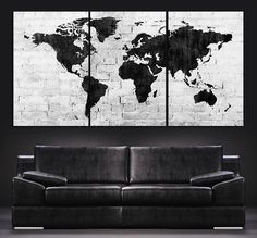 Large black white world map canvas print 3 piece watercolor splash large wall art world map canvas print contemporary 3 panel triptych black and white large gumiabroncs Gallery