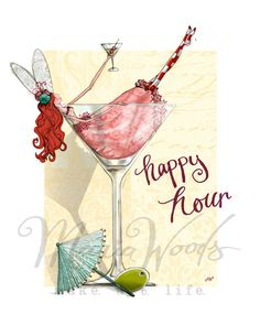 """Quirky fairy """"happy hour"""" fine-art print from Maria Woods' Girls' Guide and…"""