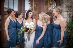 Real Vow wedding: Love this shot of Anne Marie & her bridesmaids in newport teal Jim Hjelm bridesmaid dresses! Discover more bridesmaid dresses to rent at vowtobechic.com