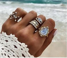Women's Oceans Tide Ring Set Size: One Size Fits All (Cluster Styled Rings) Color Options: Gold Material: Zinc Alloy Gold Material, Vintage Rings, One Size Fits All, Sapphire, Jewels, Tumi, Color, Oceans, Style