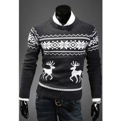 New Christmas Men's Deer Pattern Crewneck Sweater Pullover Knitwear