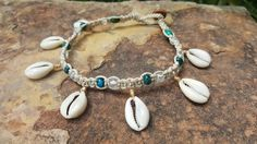 Check out this item in my Etsy shop https://www.etsy.com/listing/197195000/hemp-anklet-chrysocolla-cowrie-shell