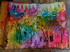 modeling paste, dylusion inks, acrylics, die cuts