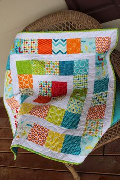 Around the world baby quilt made with charm packs