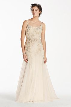 Melissa Sweet artisinal lace wedding dress with floral applique and sequin bodice and spaghetti straps.