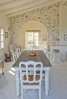 47 Ideas For Kitchen Interior Greek House Stone Interior, Interior Design Boards, Kitchen Interior, Interior Modern, Interior Paint, Room Interior, Interior Architecture, Room Ideias, Greek House