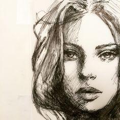 Ballpoint study by Janesko.  #art #illustration #face #pen #draw