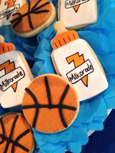 Basketball baby shower cookies