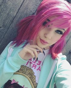"(@fallenmoon13) ""I'm Bria, 19, and into pastel punk fashion"" I smile softly"